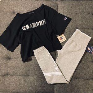 Champion Logo Leggings and T-shirt bundle